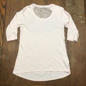 Calia Blush Short Sleeve Top w/ Lace Back Detail